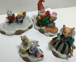 Lot Of 4 Fitz And Floyd Holiday Hamlet Figurines Winter Fun Skating Decorating