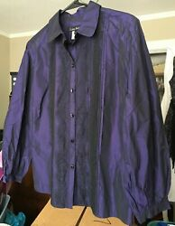 Lida Baday Deep Purple Chameleon Sheen Blouse Top With Black Lace Accent Size 10