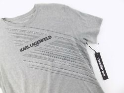 Karl Lagerfeld Paris Menand039s Crew Neck T-shirt With Printed Logo Size M Gray