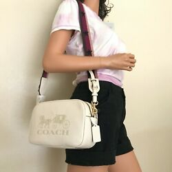 NWT Coach Jes Chalk White Leather Double Zip Messenger Crossbody Bag F75818 $158.00