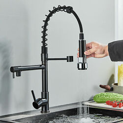 Owofan Kitchen Sink Faucet Pull Down Sprayer Spring Single Handle Solid Brass