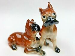 Vintage Boxers Dogs Puppies Playing Salt And Pepper Shakers Japan Fw18