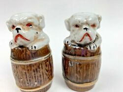 Vintage Dogs In Barrels Pugs Bulldogs Salt And Pepper Shakers Japan Fw18