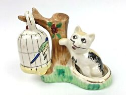 Vintage Cat Swatting Bird In Hanging Cage Salt And Pepper Shakers Japan  Fw28