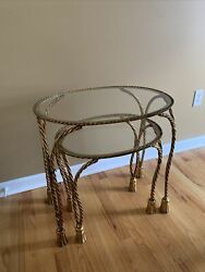 2 Vintage Wrought Iron Tassel Rope Hollywood Regency Stacking Nesting Tables