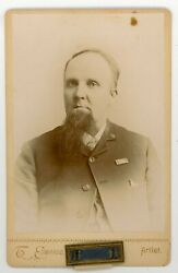 Civil War Vet. Gar. + Metal Pin Attached Officer Of The Day Cabinet Card.