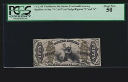 Us 50c Justice Fractional Red Back Fr 1348 Pcgs 50 V Ch Au 02 Very Scarce