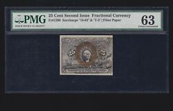 Us 25c Fractional Currency Note Fiber Paper Fr 1290 18-63-t-2 Pmg 63 Ch Cu 03