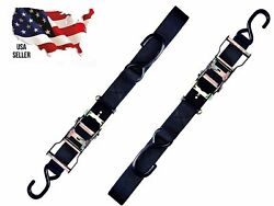 2 Ratchet Straps Motorcycle Atv 1 1/2 Hook Cargo Tie Down Downs Quality Harley