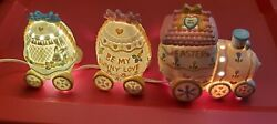 Easter Train Night Light Hand Painted Porcelain Spring, Easter, W/box And Lights