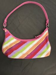 The Sak crocheted pink multi colored shoulder bag size small $15.20