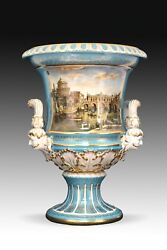Porcelain Vase With Handpainted Scene. After 19th Century Models From Meissen.