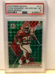 2020 Panini Mosaic Clyde Edwards-helaire Green Mosaic 212 Psa 8 Nm-mt