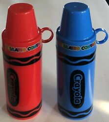 Lot 2 Crayola Red/blue 2010 Insulated 11.5 Oz Containers W/lid/cups