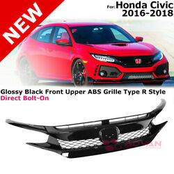 For 16-18 Honda Civic Coupe Sedan | Glossy Black Trim Typer Style Front Grille