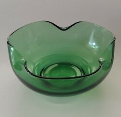 Vintage Forest Green Glass Punch Bowl Bent Glass Depression Glass Style