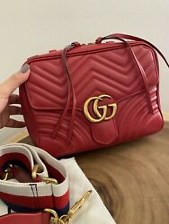 Gucci Red Top Handle Web Strap Small Bag $1700.00