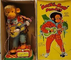Mint 1950s Battery Operated Rock 'n' Roll Monkey Tin Litho Musical Toy Japan Mib