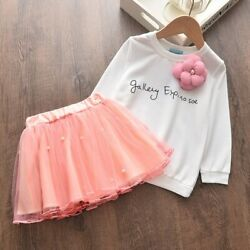 Cute 2-6year Toddler Girl Winter Clothes Suits Doll Collar Sweater Shirt Skirt