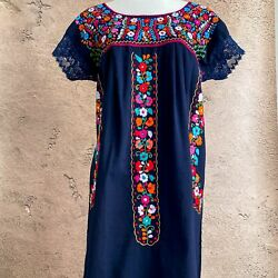 Mexican Floral Embroidered Peasant Dress Navy Bohemian Lace Dress Frida Kahlo