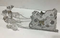 Vintage 6 Acrylic Glass Sleigh With Reindeer Silver Glitter Christmas Holiday