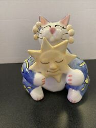 Rare WHIMSICLAY Cat Amy Lacombe Annaco Creations Holding The Sun Figurine 2002