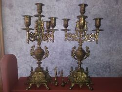 Brass Vintage Candelabra 5 Arms Taper Holder With Matching Snuffers