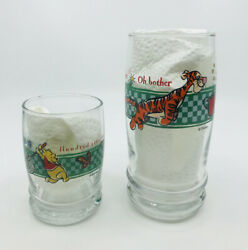 Vintage 1980's Disney Anchor Hawking Winnie The Pooh Large And Small Juice Glasses