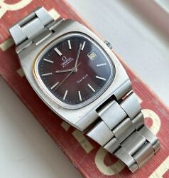 Vintage Omega Geneve Automatic Red Spider Dial Quickset Steel Case Watch