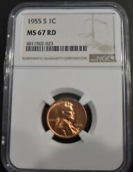 1955-s Lincoln Wheat Ears 1c Cent Ngc Ms 67 Red 023