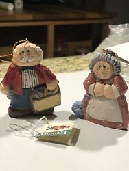 """Eddie Walker Midwest Of Cannon Falls Lot Of 2 Claus , Christmas Ornaments 3"""""""