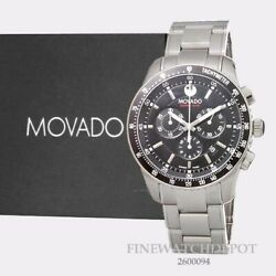 Authentic Movado Mens 800 Black Dial Performance Steel Chronograph Watch 2600094