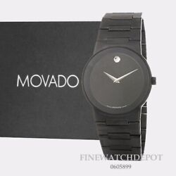 Authentic Movado Mens Safiro Stainless Steel Case Black Dial Watch 0605899