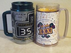 2 Super Bowl Xxxi Insulated Thermo-serv Mugs Green Bay Packers 1997free Ship