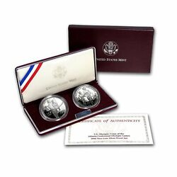 1995-p Atlanta Olympic Gymnast And Blind Runner Silver 2 Coin Proof Set