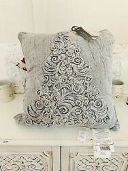 Bee amp; Willow Home Vintage Tree Textured Square Throw Pillow in Charcoal