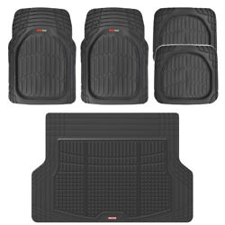 5 Pc Front Rear And Cargo Liner Auto Car Floor Mats Deep Dish Heavy Duty Rubber