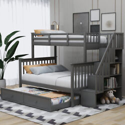 Twin-over-full Bunk Bed With Trundle Books Toys Storage For Home Bedroom Us