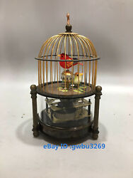Collection Old Cruated Copper Hand Made Birdcage Mechanical Clock S0