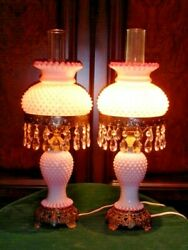Fenton Old Peach Blow Milk Glass Hobnail Student Lamp Gwtw Style 1-2