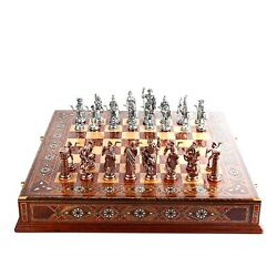 Large Chess Pieces And Set Historical Metal Chess Antique Copper Rome Figures