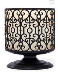 BATH AND BODY WORKS CANDLE HOLDER PEDESTAL ORNATE HEART 3 WICK LARGE BLACK METAL