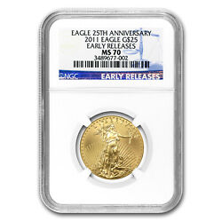 2011 1/2 Oz Gold American Eagle Ms-70 Ngc Early Releases - Sku 68614