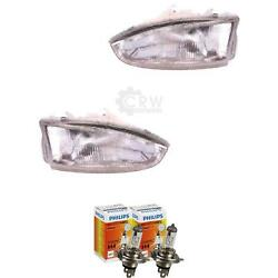 Headlight Set For Mitsubishi Colt Ca0 Year 92-12 97 Incl. Philips Lamps