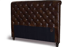 Queen Chesterfield Genuine Leather Headboard, Button Diamond Tufting And Nailheads