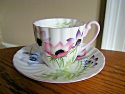 Shelley England Wind Flower 14032 Demitasse Cup And Saucer Set
