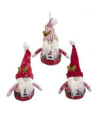Kurt adler Cozy Red Bearded Cottage Gnome Polyester Hanging Ornament Set of 3
