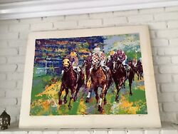 """Mark King Large Home Stretch Serigraph Hand Signed Artwork 42"""" X33"""""""