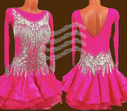 L2281 Beading Open Back Specialty Adult Rhythm/ Latin Dress Uk 10 Us 8 Rose