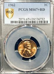 1962 Pcgs Ms67+ Rd Lincoln Cent Extremely Condition Rarity